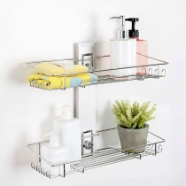 [BATHBEYOND] Shower Caddy Suction Cup Tier Shower Shelf - Adjustable Shower Caddy 400 Stainless Steel No-Drilling and Extra Adhesive Sticker for More Stronger Suction (2Tier)